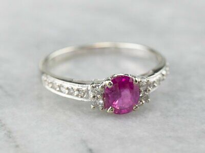 1.30 Ct Round Pink Ruby & Diamond 14K White Gold Over Engagement Ring 925 Silver • 69.99£