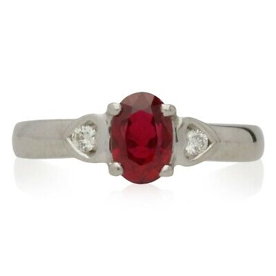 Pre-owned  18ct White Gold 3 Stone Ruby & Diamond Ring  • 650£