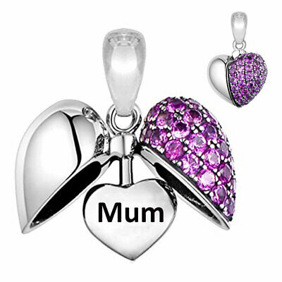 £16.95 • Buy Mum Charm Bead Purple Crystal I Love You Heart Sterling Silver Gift Mom Mother