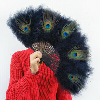 £9.99 • Buy Peacock Feather Folding Fan Chinese Japanese Handheld Wedding Dancing Party