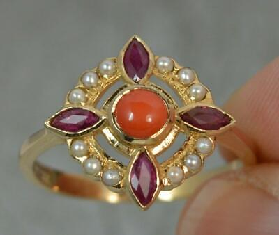 LUKE STOCKLEY 9ct Gold Coral Pearl Ruby Flower Cluster Ring F0477 • 325£