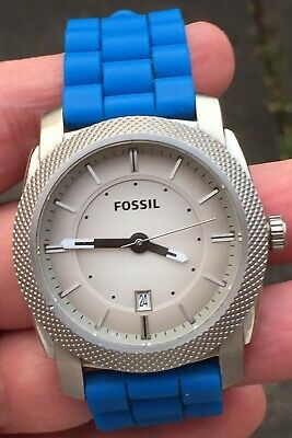 Mens Fossil Blue   Rubber Strap Watch New Battery Put In It Lovely Order • 29.99£