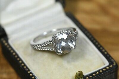 Silver Princess Cut Halo Pave Engagement Ring DQCZ 925 Size Q • 31.99£