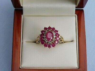 STUNNING 3.7g QVC 9CT YELLOW GOLD OVAL RUBY + DIAMOND CLUSTER RING - SIZE Q • 164.99£