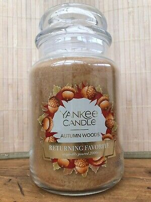 Large YANKEE CANDLE 22 Oz Jar AUTUMN WOODS Fall Winter Scent NEW From USA Rare • 28£