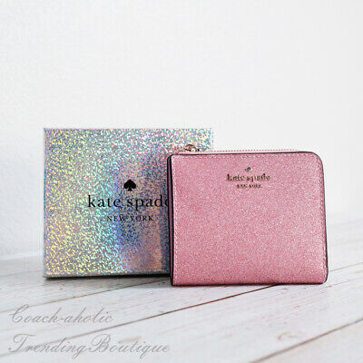 $ CDN70.11 • Buy NWT Kate Spade Lola Glitter Boxed Small L-Zip Bifold Wallet In Rose Pink