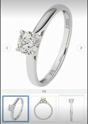 Revere 9ct White Gold 0.50ct Original Diamond Solitaire Ring - Half Price SALE • 495£