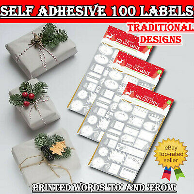100pk Christmas Gift Labels Foil Silver Gold Self Adhesive Tags Stickers Label • 2.79£