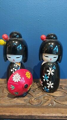 Japanese Vintage Hand Crafted & Painted Wooden Kokeshi Dolls 5 Inches High • 18.10£
