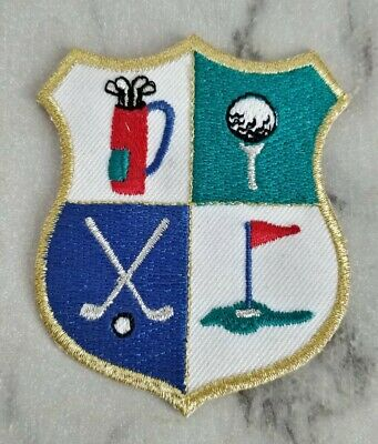 Golfing Crest Motif Embroidered Iron On Patch Badge 3  • 2.99£