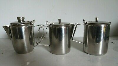 3 Stainless Steel Coffee Pot Hot Water Jugs Good Vintage Condition. • 8.50£