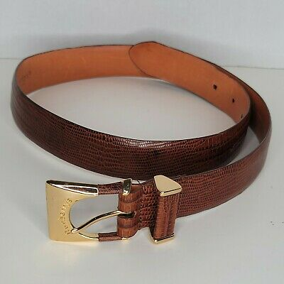 Burberry's Brown Leather Belt Size Medium  Gold Tone Buckle  • 92.91£