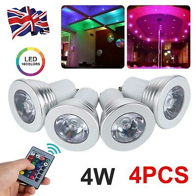 £10.99 • Buy 4 X GU10 4W 16 Color Changing RGB Dimmable LED Light Bulbs Lamp Remote Spot UK