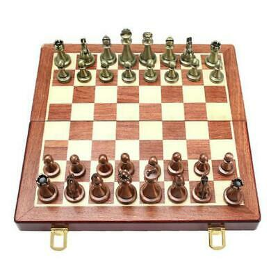 11 Inches Wooden Chess Set -with Metal Chess Pieces Chess Board Game Set • 55.68£