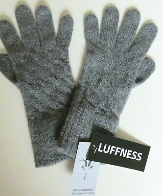 £32.95 • Buy Luffness Cashmere Gloves Grey Cable Knit Design NEW Ladies Womens Wool Woollen