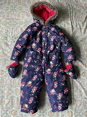 JOHN LEWIS Girls Snow Suit All In One Bodysuit Gloves Floral Blue Age 2-3 Years • 6£