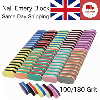 Double-sided Mini Nail File Colourful Sponge Nail Sanding Buffer Polishing Block • 5.59£