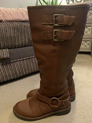 Ladies Carvella Tan Leather Knee High, Fur Lined Boots Size 4 • 8£