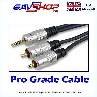 10m (33ft) OFC SHEILDED AUDIO CABLE 3.5mm Stereo Jack To Twin RCA Phono Plugs • 8.95£
