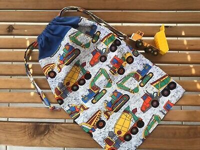 AU18.99 • Buy Trucks, Tractors Drawstring Pyjama Pj Toy Bag Handmade New