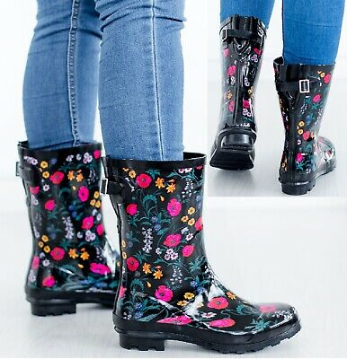 Ladies Festival Rain Wellies Garden Womens Waterproof Flower Wellington Boots • 12.95£