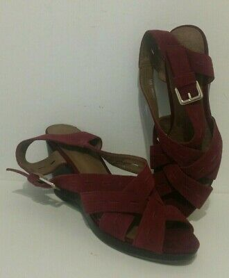 Womens Footglove At M&S Wedge Strappy Shoes Size 5.5 Magenta Suede Leather • 29.95£