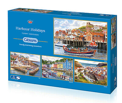 Harbour Holidays 4 X 500 Gibsons Jigsaws, Terry Harrison, Puzzles, Gifts G5052 • 25.99£