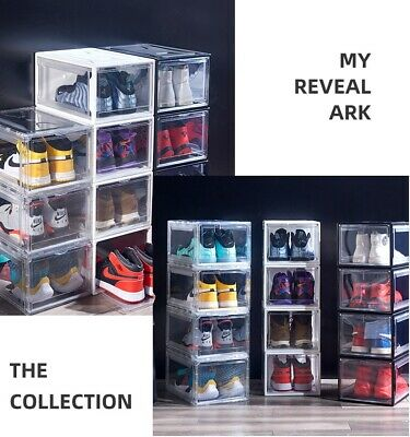 AU19.95 • Buy Sneaker Display Shoe Box Extra Large Storage Cases Plastic Boxes Black White