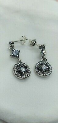 PANDORA Drop Earrings Vintage Allure Sterling Silver • 20.98£