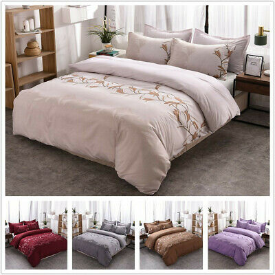 AU23.99 • Buy New Embroidered Quilt Duvet  Cover  Ultra Soft Quilt Cover Queen  King Bed