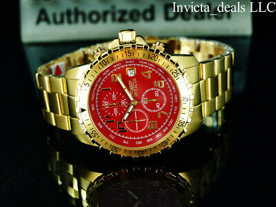 NEW Invicta Men's Specialty PILOT Chronograph RED DIAL 18K Gold Plated SS Watch • 58.51£