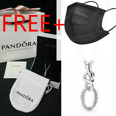 Pandora Genuine Sterling Silver Pendant Necklace #398078CZ Knotted Heart • 15.99£