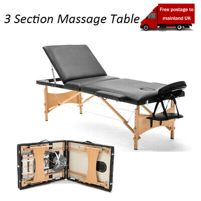 Portable 3 Fold Massage Table Beauty Bed Therapy Couch Facial SPA Wood Frame BLK • 15£