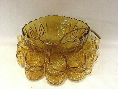£38 • Buy Vintage Williamsport Amber Glass Punch Bowl & 12 Cups + Ladle