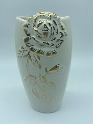 $ CDN28 • Buy Royal Winton Grimwades Golden Rhapsody Vase England Gold Neutral Cream 1950's
