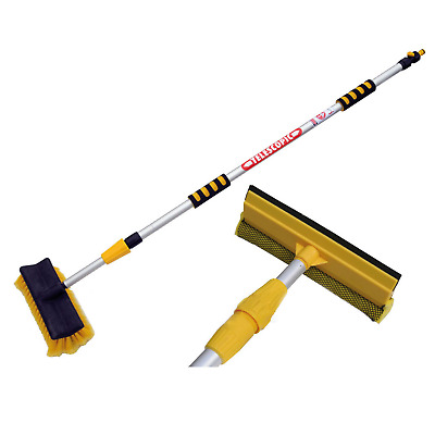 £17.95 • Buy 3M Extendable Pole Water Fed Telescopic Hose Wash Brush Window Squeegee Cleaner