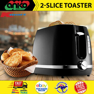 AU35.76 • Buy Toaster 2 Slice Electric Black & Silver With Warming Rack Crumb Tray Toast Slot
