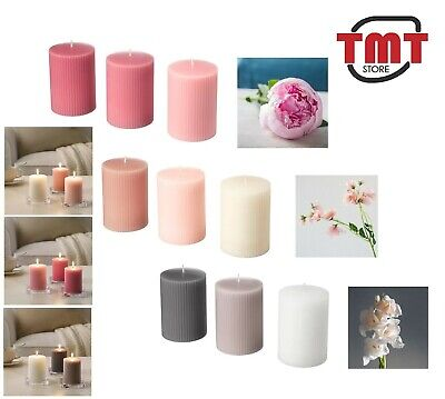 IKEA Blomdoft Scented Block Candle In Various Colour Burn Aromatic Flowers Smell • 12.98£