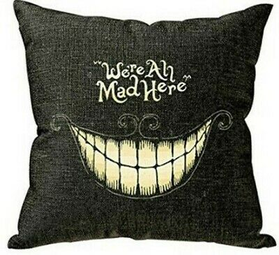 ALL MAD HERE  ALICE In WONDERLAND Mad Hatter LINEN COTTON CUSHION COVER, UK • 4.49£