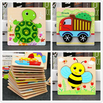 £5.99 • Buy Wooden Puzzles Toy For 1-3 Year Olds Toddler Animal Jigsaw Baby Educational Toys