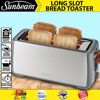 AU81.04 • Buy Sunbeam TA4540 Long Slot Toaster 4 Slice Long Slots Crumpet Muffin Stainless New
