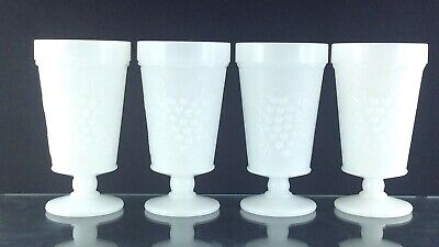$42.50 • Buy Milk Glass Set Of 4 Vintage White Cups Embossed Grapes Pedestal Tumblers T067
