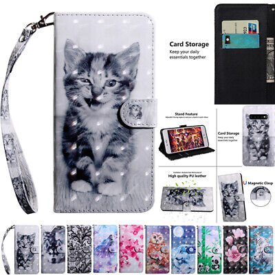 AU14.98 • Buy Samsung Note9 S10+ J2 J8 A8 Painted Strap Leather Wallet Card Case Stand Cover