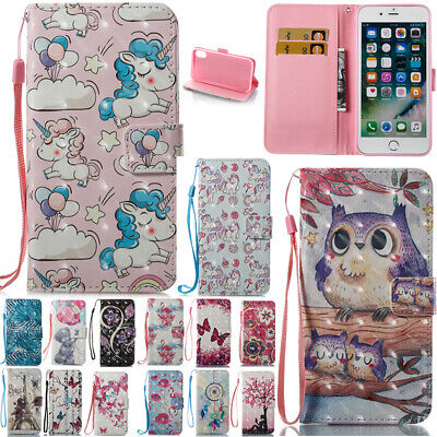 AU14.19 • Buy For IPhone  6S 7 8Plus X Patterned Magnetic Flip Leather Wallet Slots Case Cover