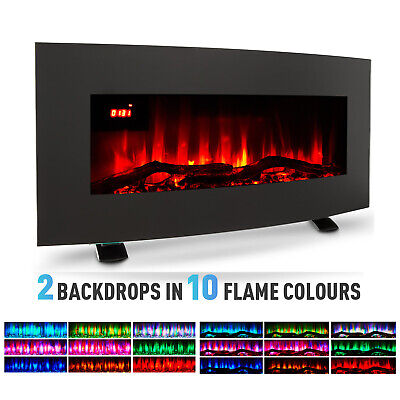 35'' 1800W Electric Heater Fireplace Wall Mounted  Freestanding 10Flame W/Remote • 129£