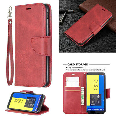 AU12.89 • Buy Strap Leather Card Stand Wallet Case Cover For Samsung Galaxy J2Pro 2018 J4 J6