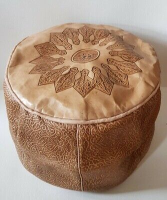 Moroccan Leather Pouffe / Footstool • 29.99£