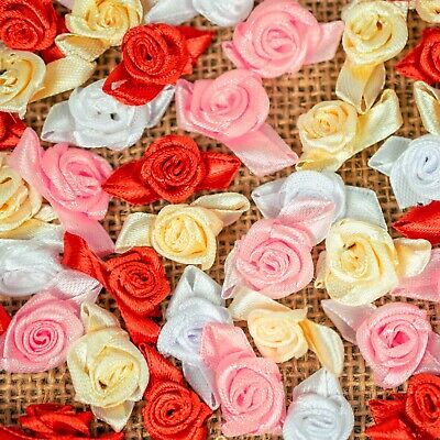 £2.79 • Buy 20 X Small Mini Satin Ribbon Rose Buds Flowers Applique Craft Scrap Booking 25mm