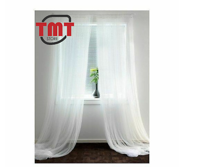 New IKEA LILL Pair Of Long Sheer Floaty White Net Curtains Size 280 X 250cm  • 11.49£