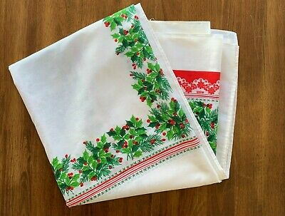 $ CDN27.18 • Buy Vintage 1960's Holly Floral Red White Green Christmas Tablecloth Linen 98  X 59